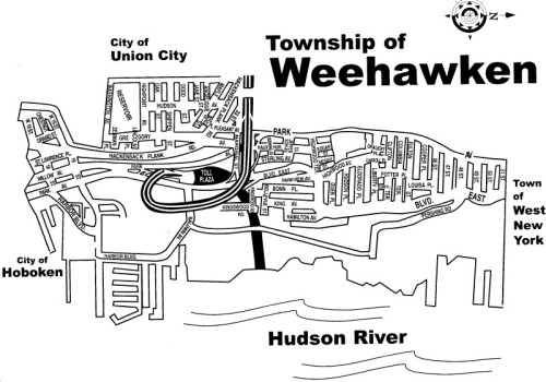 The official town map of Weehawken - half the track will be here...
