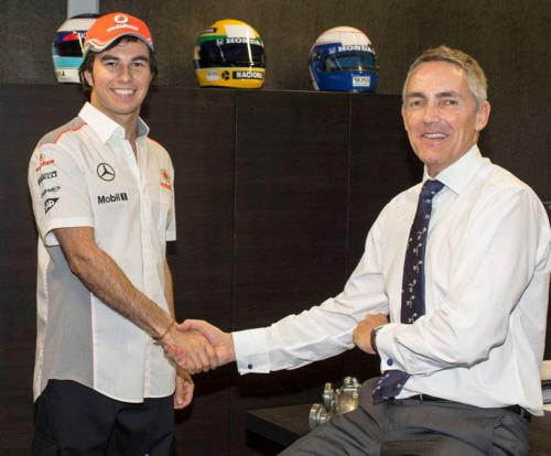 Sergio Perez and his new boss Martin Whitmasrh in Woking today