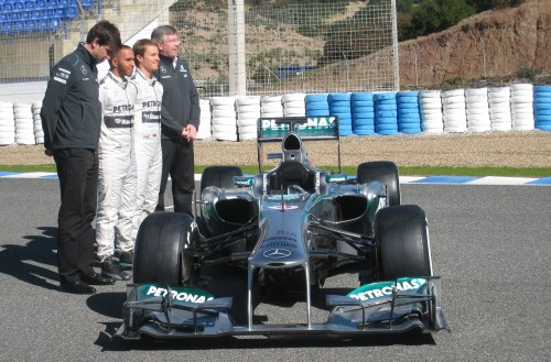 Ross Brawn joins Toto Wolff and the Merc drivers. Photo: AC