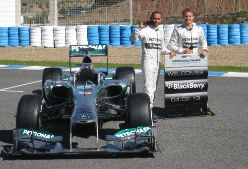 Lewis Hamilton and Nico Rosberg do a spot of PR for their new sponsor...