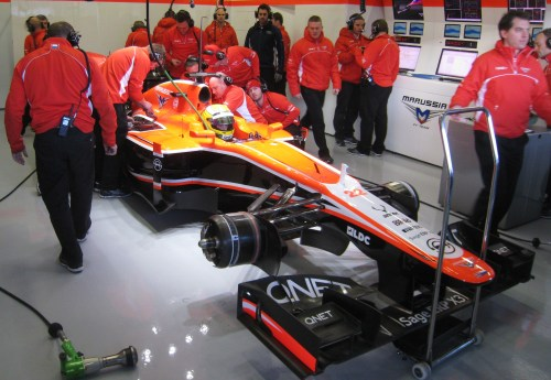 Luiz Razia prepares for his first lap in the new Marussia. Photo: AC