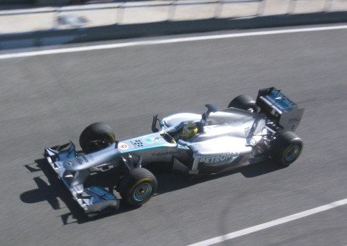 Nico Rosberg gave the Mercedes its first laps this morning. Photos: AC