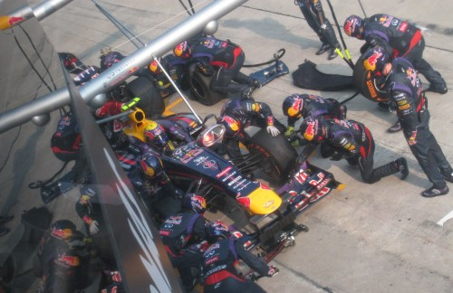Calm before the storm - Webber's final stop. Photo: AC