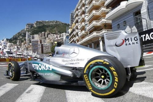 This pic, courtesy of AMG Mercedes, shows a swapped rear tyre at Monaco