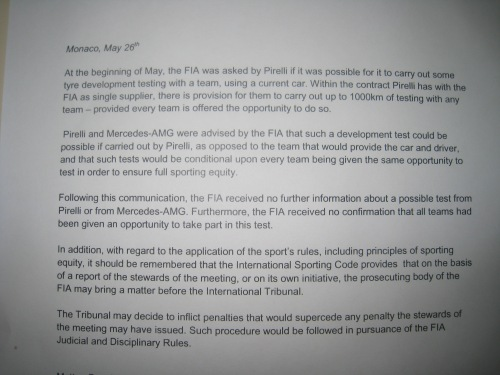 This note was given to media by the FIA tonight