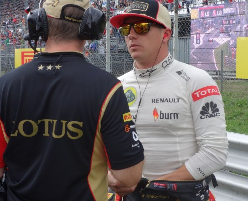 Kimi keeps his hands warm on the grid at Monza last weekend. Photo: AC