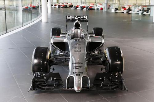 The new McLaren shows its distinctive nose...