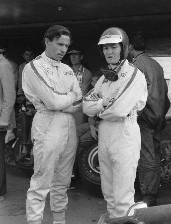 Jonathan Williams chatting with Jim Clark