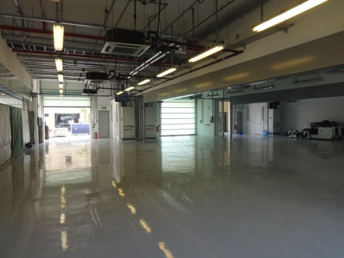 Marussia's garage, still empty as of 1400 Wednesday. Photo: AC