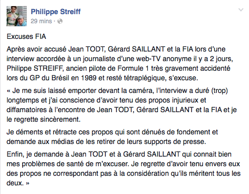 Philippe Streiff did not waste time in apologising
